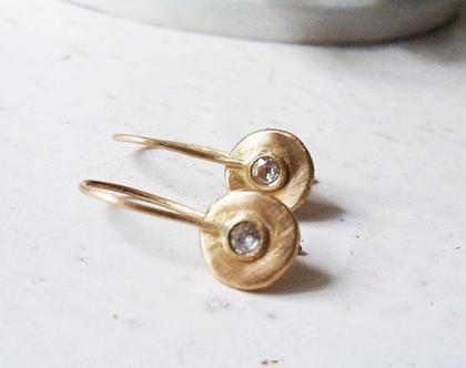 עגילי זהב 14k תלויים בעבודת יד משובצים יהלום אפור