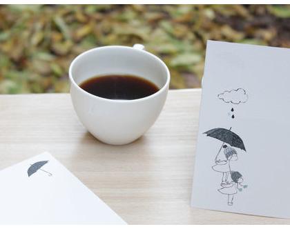 מארז 5 גלויות - ילדים בגשם