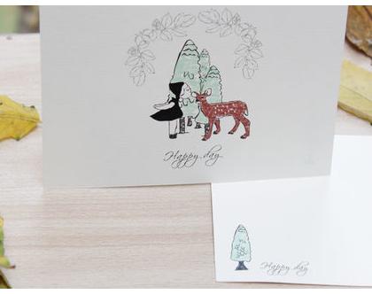 """מארז 5 גלויות - """"Happy day""""   ילדה ובמבי"""