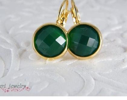 עגילי זהב ואבן אגת ירוק | עגילי גולדפילד | עגילי אבני חן | עגילים תלויים| מתנה לאישה