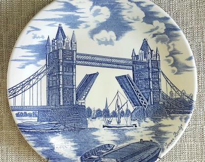 צלחת נוי - גשר לונדון בכחול חבן