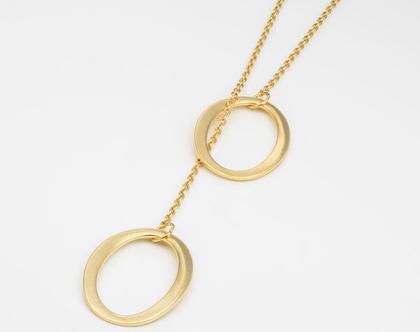 שרשרת מאזנייםבשילוב אבזם אליפסי בציפויי זהב מט/ שרשרת ארוכה/ שרשרת חוליות זהב ואבזם זהב מט
