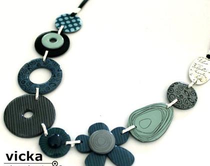 שרשרת פרח אורגנית גווני כחול טורקיז(shv-0140)