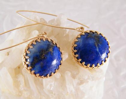 עגילי זהב ולאפיס לזולי,עגילי אבני חן כחולות,עגילים ארוכים