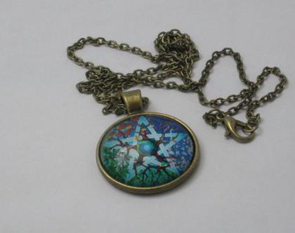 שרשרת ברונזה עם תליון - בסיס מברונזה ותמונת כוכב ועצים במסגרת זכוכית