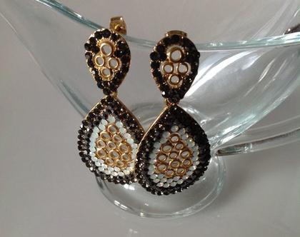 עגילים שחורים ארוכים - עגילים בשחור וזהב - עגילים ארוכים לערב - עגילי זהב ארוכים - שחור וזהב