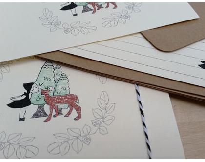 מארז 5 גלויות - ילדה ובמבי