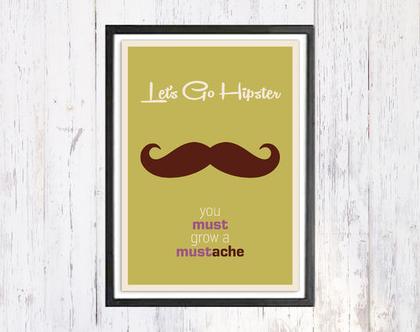 Lets Go Hipster | תמונת רטרו | תמונה למשרד | תמונה לבית | קובץ דיגיטלי להדפסה עצמית