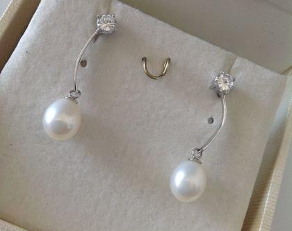 עגילי פנינה - עגילים צמודים - כסף 925  - פנינים - תכשיטים לבנים - תכשיטים לכלה - עגילים לכלה - לבת מצווה - עגילים תלויים