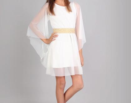 שמלת עטלף שיפון לנערות ובת מצווה בעיצוב שירן סבוראי