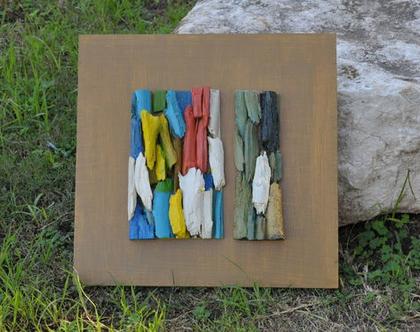 תמונה צבעונית | עיצוב בעץ | אמנות מקורית | אמנות בעץ | פסיפס עץ | עיצוב הבית | מתנה לבית | חנוכת בית | עיצוב המשרד |