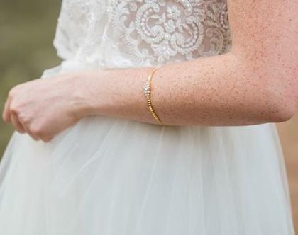 צמיד עדין לכלה, צמיד זהב לכלה, צמיד קריסטלים לכלה, תכשיטים לכלות, תכשיטים לכלה, מתנה לכלה