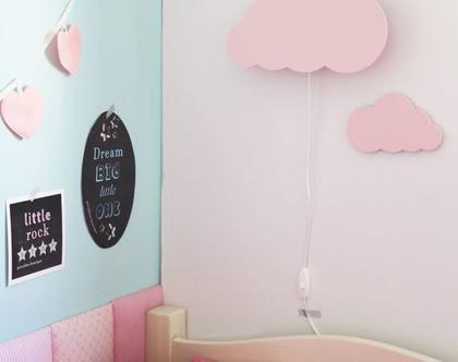 מנורת לילה מעוצבת לחדר ילדים בצורת ענן ☁ - עיצוב חדר הילדים מנורת לילה בצורת ענן בצבע ורוד פסטל