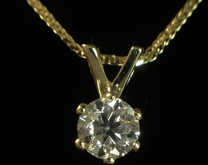 תליון יהלום | זהב 14K | תליון זהב ויהלום | תכשיטי יהלומים | זהב 14 קאראט| יהלום 80 נקודות | תליון סוליטר | תליון מיוחד | תליון מעוצב | מתנה