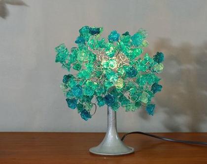 מנורת שידה פרחים טורקיז