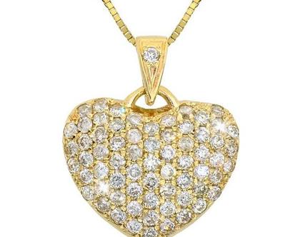 ♥♥ שרשרת לב יהלומים | תליון יהלומים מעוצב | לב פאווה יהלומים |זהב 14 קאראט | יהלומים | מעוצבת | נוצצת