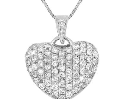 ♥♥ שרשרת לב יהלומים | תליון יהלומים מעוצב | לב פאווה יהלומים |זהב 14 קאראט | יהלומים | מעוצבת | נוצצת | שרשרת זהב לבן | תכשיט מיוחד | זהב
