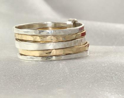 טבעת זהב 14K משולבת | זהב צהוב | זהב אדום | כסף 925 | זהב 14K | טבעת מעוצבת | טבעת בעיצוב מיוחד | טבעת זהב קלאסית | זהב 14 קראט