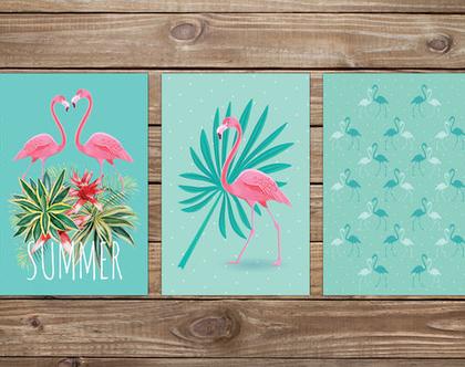 סט 3 גלויות מוכנות למסגור פלמינגו | מארז גלויות | כרטיסי ברכה | עיצוב הבית