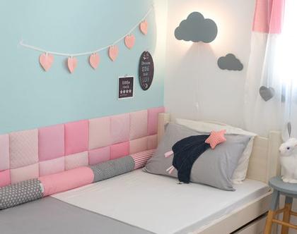 מגן צד מיטת ילדים , מגן ראש למיטת נוער , עיצוב חדר ילדים - 20 אריחים רכים