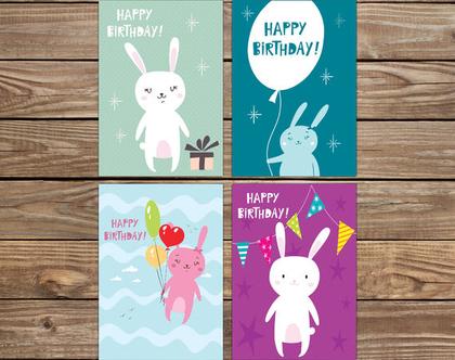 סט 4 ברכות ארנבים | ברכות מעוצבות ליומולדת | גלויות ברכה