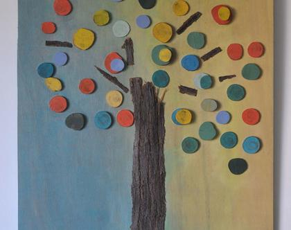 תמונה צבעונית | פסיפס עץ | עבודת אמנות מקורית