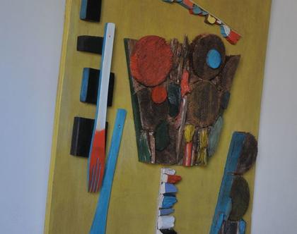 תמונה צבעונית | פסיפס עץ | אמנות מקורית | תמונת עץ | עיצוב הבית | מתנה לבית | רעיון לעיצוב | פסיפס עץ | תלת מימד |