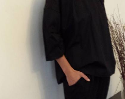 חולצת קפלים בשרוול, חולצה שחורה יפה, חולצה מיוחדת