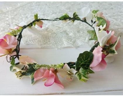 זר כלה | זר מפרחי משי ורוד לבן | כתר פרחים | זר לראש | זר מפרחים מלאכותיים | זר פרחים לשיער