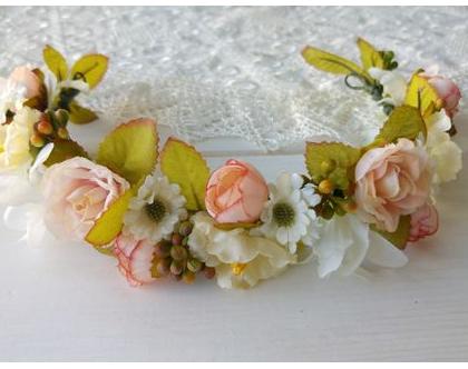 זר פרחים לראש | זר לכלה | זר פרחים מלאכותיים | זר בגוונים ורוד לבן | קשת מפרחי משי | פרחים לכלות |זר לראש מפרחי בד
