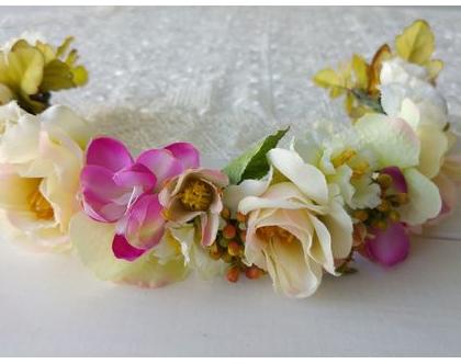 זר ורדים לראש | זר פרחים לראש | זר לשיער | זר מפרחי משי | זר לכלה | זר ליום הולדת