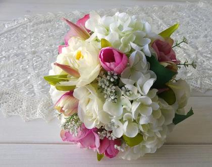 זר כלה ורוד לבן | זר כלה מפרחי משי | זר כלה מפרחי בד | בוקט פרחים לכלה | זר מפרחים מלאכותיים