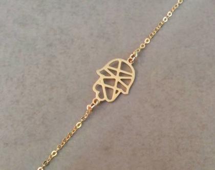 צמיד חמסה קטן, צמיד תליון חמסה, צמיד זהב, תכשיט ציפוי זהב, צמיד עם תליון, חמסה קטנה, צמיד עדין מזהב