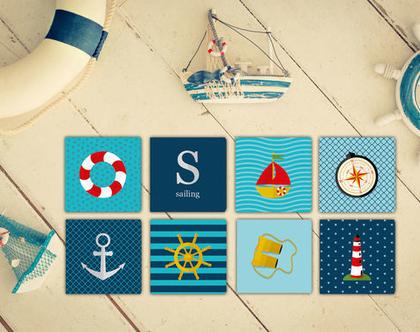 סדרת ספנות | תמונה מעוצבת על קנבס | תמונות מעוצבות לחדר ילדים | סט תמונות | מיני תמונות