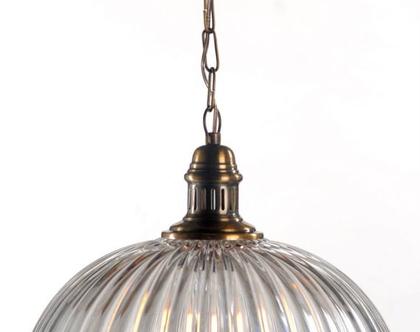 מנורת זכוכית כיפה פסים, תאורה ,זכוכית ,ברונזה