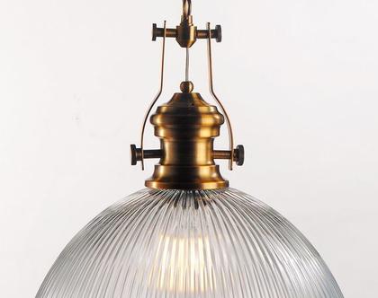 מנורת תליה פסים חובק אוניה גדולה , תאורה ,זכוכית ,ברונזה