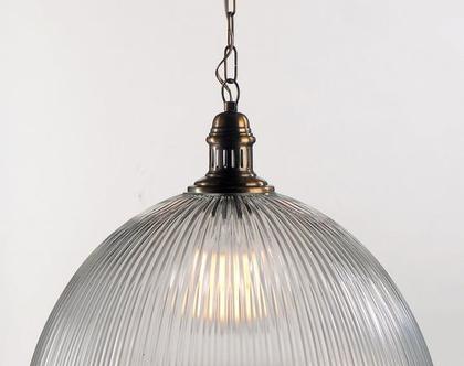 מנורת זכוכית פסים גדולה, תאורה ,זכוכית ,חובק ברונזה
