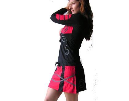 שמלה טוניקה בסגנון סיני - שחורה ואדום