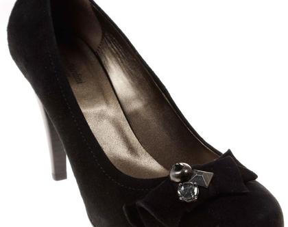 עור אמיתי! נעלי עקב נשיות בצבע שחור NERO GIARDINI תוצרת איטליה
