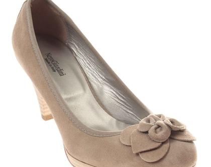 עור אמיתי! נעלי עקב נשיות בצבע בז' NERO GIARDINI תוצרת איטליה