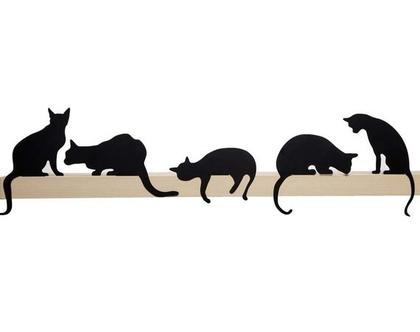 פסלוני חתולים לקישוט מדף מתנה לאוהבי חתולים עיצוב הבית - 5 חתולים במחיר 4 - שחור