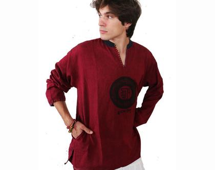 חולצה אתנית עם הדפס מנטרה טיבטית - בורדו
