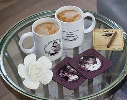 זוג ספלים וזוג תחתיות תואמות   תמונה על ספל   ספלים בהתאמה אישית   הדפסה על ספל   מתנות עם תמונות   מתנה מיוחדת   לסבא   לסבתא   לאמא