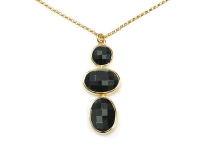 תליון אוניקס שחורה מזהב - שרשרת זהב - שרשרת תליון ארוכה - שרשרת לערב - שרשרת לאירוע - שרשרת עדינה