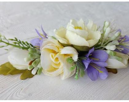 סיכת פרחים לשיער | סיכה מפרחי משי | סיכה לכלה | סיכה מפרחי משי | אקססוריז לשיער | סיכה מפרחים מלאכותיים | סיכה מעוצבת | סיכות לכלה | כלות