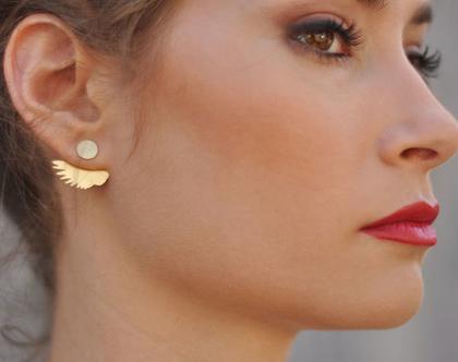 עגילי כנף חפת, עגילים כפולים זהב, עגילים דו- צדדיים כנפיים, עגילים חובקים, עגילי כנפיים, עגילים מיוחדים, עגילי זהב לנשים, מתנה לאישה