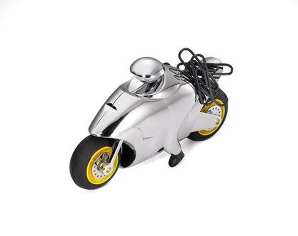משקולת נייר עם גלגלים זזים בצורת אופנוע | מגנט לאטבים | מצופה כרום כסוף | מתנה למשרד