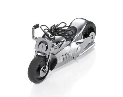 משקולת נייר עם גלגלים זזים בצורת אופנוע EASY RIDER | מגנט לאטבים | מצופה כרום כסוף | מתנה למשרד
