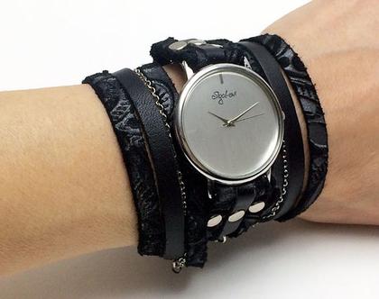שעון עור מתלפף   שעון שחור מתלפף   שעון שחור  בשעון מעוצב   שעוני מעצבים   שעוני סיגל לוי   שעון בגווני שחור   שעון רצועה ניכרכת