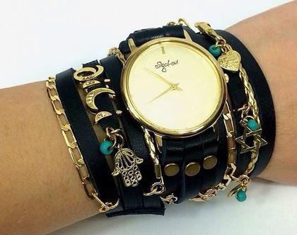 שעון שמות מתלפף   שעון עור מתלפף   שעון סיגל לוי   שעונים   שעון   שעון בגוון אבן   שעון מזל   שעון מתוכשט   שעון קישוטים